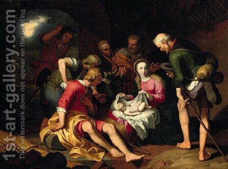 The Adoration of the Shepherds with the Annunciation to the Shepherds beyond by (after) Abraham Bloemaert - Reproduction Oil Painting