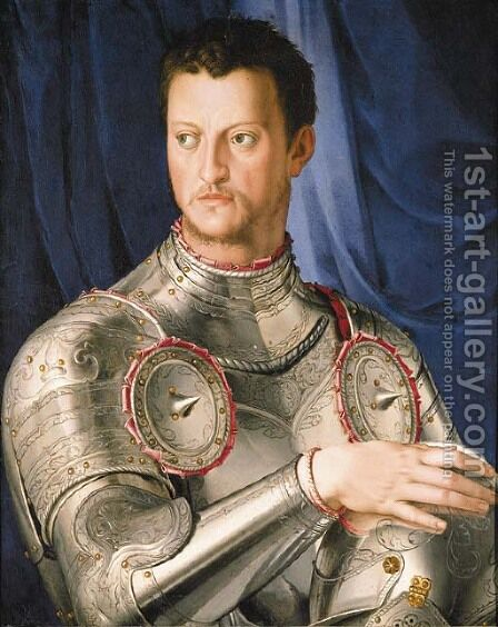 Portrait of Duke Cosimo I de' Medici by (after) Agnolo Bronzino - Reproduction Oil Painting
