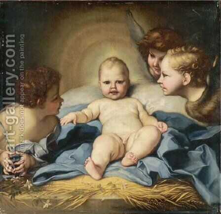 The Infant Christ with Angels and the Infant Saint John the Baptist by (after) Carlo Maratta Or Maratti - Reproduction Oil Painting