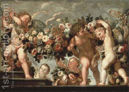 Putti with festoons of roses by (after) Carlo Maratta Or Maratti - Reproduction Oil Painting