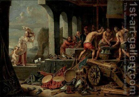 Venus and Cupid at Vulcan's Forge by (after)  David The Younger Teniers - Reproduction Oil Painting