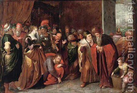 Christ and the Woman taken in Adultery by (after) Frans II Francken - Reproduction Oil Painting