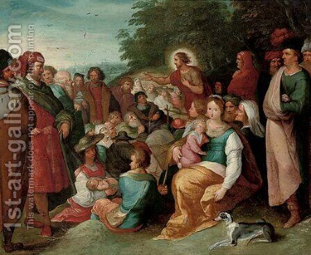 Saint John the Baptist preaching to the multitude by (after) Frans II Francken - Reproduction Oil Painting
