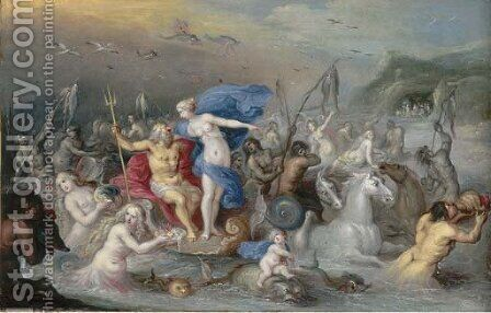 The Triumph of Neptune and Amphitrite by (after) Frans II Francken - Reproduction Oil Painting