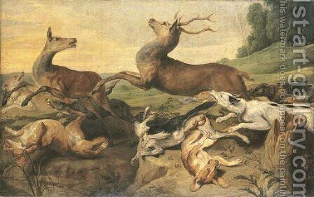 Dogs hunting deer in a landscape by (after) Frans Snyders - Reproduction Oil Painting