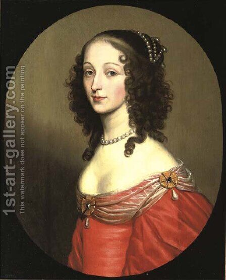 Portrait of a lady, half-length, in a red dress and transparent scarf by (after) Honthorst, Gerrit van - Reproduction Oil Painting