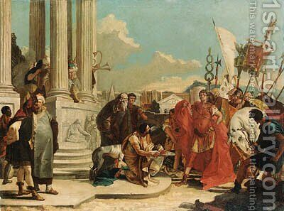 Julius Caesar contemplating the severed head of Pompey by (after) Giovanni Battista Tiepolo - Reproduction Oil Painting