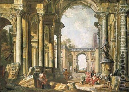 A capriccio of classical ruins with Belisarius begging at the entrance to Constantinople by (after) Giovanni Paolo Panini - Reproduction Oil Painting