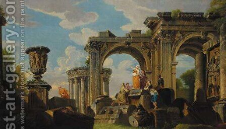 A capriccio of classical ruins, a temple, and an urn, with a sybil and other figures by (after) Giovanni Paolo Panini - Reproduction Oil Painting