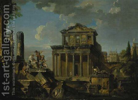 Soldiers listen to a philosopher on a pile of broken columns before the Temple of Antoninus Pius and Anna Galeria Faustina by (after) Giovanni Paolo Panini - Reproduction Oil Painting