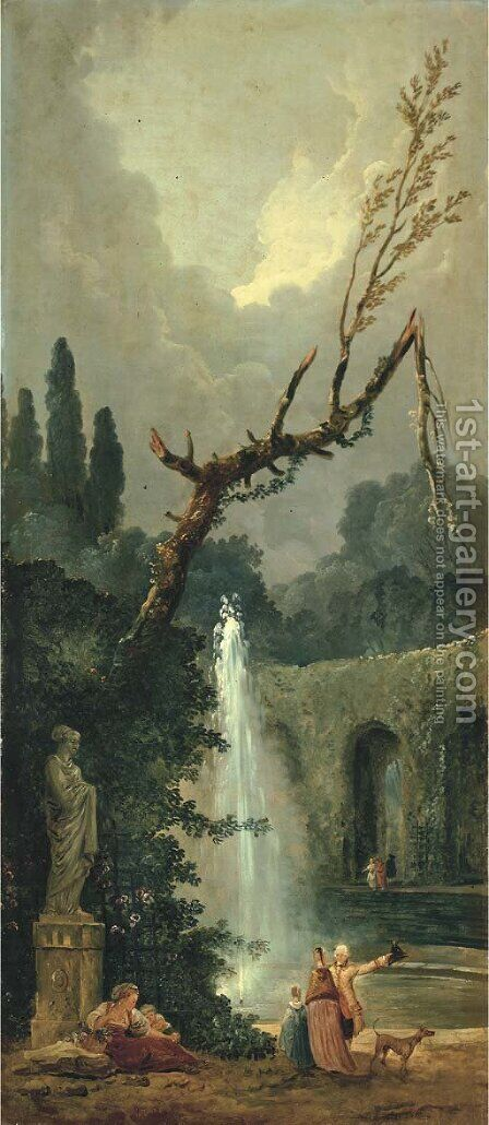 Le jet d'eau by (after) Hubert Robert - Reproduction Oil Painting