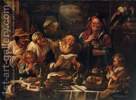 As the old sing, so pipe the young by (after) Jacob Jordaens - Reproduction Oil Painting