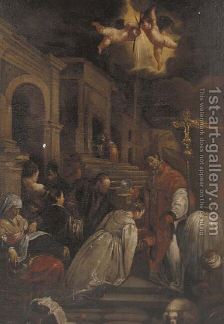 The baptism of Saint Ludmilla 2 by (after) Jacopo Bassano (Jacopo Da Ponte) - Reproduction Oil Painting
