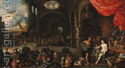 Venus at the Forge of Vulcan 2 by (after) Jan, The Younger Brueghel - Reproduction Oil Painting