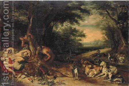 Diana and her nymphs sleeping with satyrs approaching by (after) Jan, The Younger Brueghel - Reproduction Oil Painting