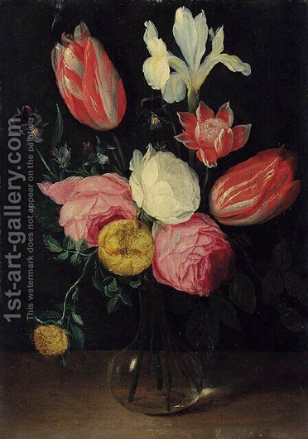 Roses, tulips, an iris, pansies and an anemone in a glass vase by (attr. to) Kessel, Jan van - Reproduction Oil Painting