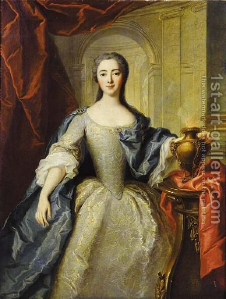 Portrait of a lady, said to be Princess Charlotte-Louise de Rohan-Guemenee (born 1722), as a Vestal Virgin by (after) Jean-Marc Nattier - Reproduction Oil Painting