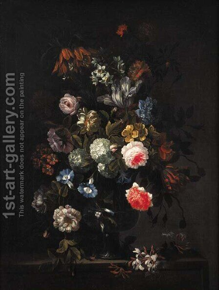 Flowers 2 by (after) Jean-Baptiste Monnoyer - Reproduction Oil Painting