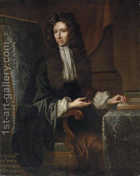 Portrait of the Hon. Robert Boyle, F.R.S. (1627-1691) by (after) Kerseboom, Johannes - Reproduction Oil Painting