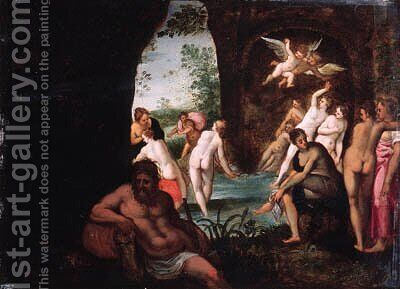 Actaeon surprising Diana and her nymphs in a grotto, a river god in the foreground by (after) Johann Rottenhammer - Reproduction Oil Painting