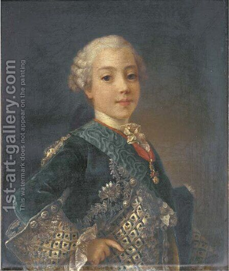 Portrait of a young gentleman, probably the comte d'Artois, later King Charles X of France (1757-1836) by (after) Louis Michel Van Loo - Reproduction Oil Painting