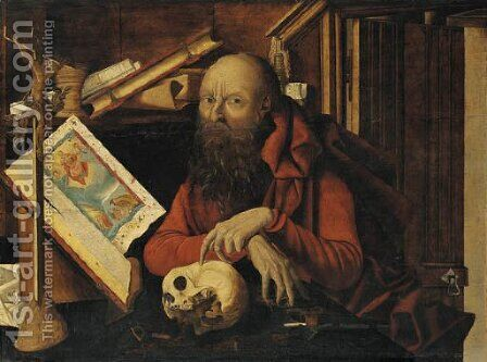 Saint Jerome in his study 2 by (after) Marinus Van Reymerswaele - Reproduction Oil Painting