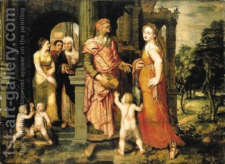 The Expulsion of Hagar by (after) Coxie, Michiel I - Reproduction Oil Painting