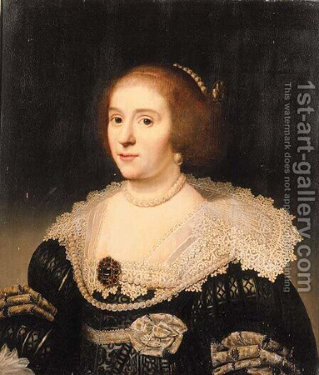 Portrait of Amalia van Solms (1602-1675) by (after) Michiel Jansz. Van Miereveld - Reproduction Oil Painting