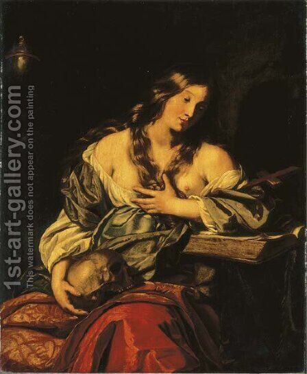 The Penitent Magdalen by (after) Niccolo Renieri (see Regnier, Nicolas) - Reproduction Oil Painting