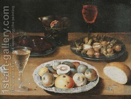 Peaches on a Wanli 'kraak' porselein plate by (after) Osias, The Elder Beert - Reproduction Oil Painting
