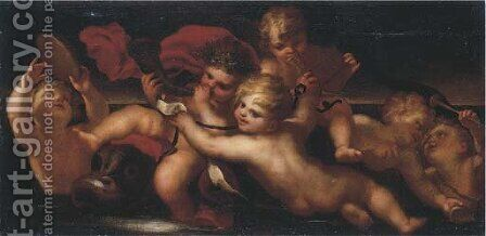 An allegory of Music, with putti playing music an overdoor by (after) Domenico Piola - Reproduction Oil Painting