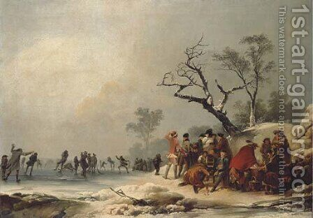A winter morning with skating in Hyde Park by (after) Loutherbourg, Philippe de - Reproduction Oil Painting