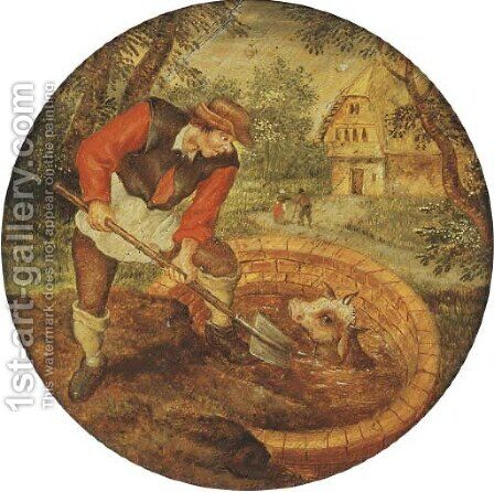 To fill the well once the calf has fallen in by (after) Pieter The Younger Brueghel - Reproduction Oil Painting
