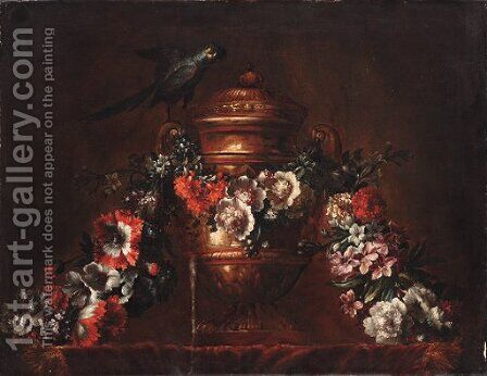 A bronze vase with a string of flowers and a parrot by (after) Pieter II Casteels - Reproduction Oil Painting