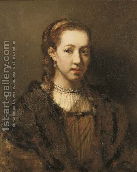 Portrait of a lady, traditionally said to be Hendrickje Stoffels by (after) Harmenszoon Van Rijn Rembrandt - Reproduction Oil Painting