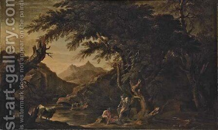 Argus, Io and Mercury in an extensive river landscape by (after) Rosa, Salvator - Reproduction Oil Painting