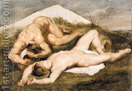 Study of two male nudes by (after) Sir Peter Paul Rubens - Reproduction Oil Painting