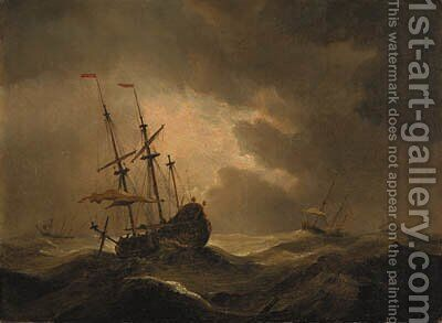 A merchantman in a storm with other shipping beyond by (after) Willem Van De, The Younger Velde - Reproduction Oil Painting
