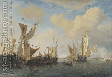 A wijdschip and a smalschip lying at a pierhead, a States Yacht leaving by (after) Willem Van De, The Younger Velde - Reproduction Oil Painting