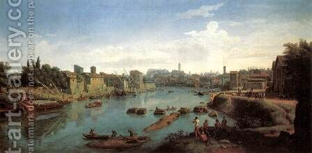 Rome- the Tiber near the Porto di Ripa Grande c. 1711 by Caspar Andriaans Van Wittel - Reproduction Oil Painting