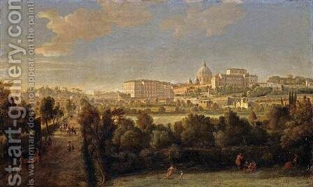 Rome- View of St Peter's and the Vatican Seen from Prati Di Castello by Caspar Andriaans Van Wittel - Reproduction Oil Painting