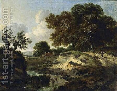 Wooded Landscape 1670s by Jan Wynants - Reproduction Oil Painting
