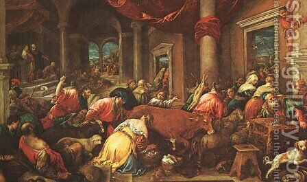 The Purification Of The Temple by Jacopo Bassano (Jacopo da Ponte) - Reproduction Oil Painting