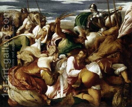 The Road To Calvary 1550-55 by Jacopo Bassano (Jacopo da Ponte) - Reproduction Oil Painting