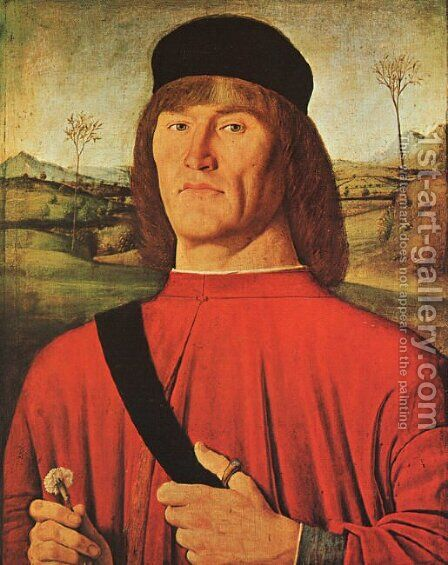 Man with a Pink Carnation c. 1495 by Andrea Solari - Reproduction Oil Painting