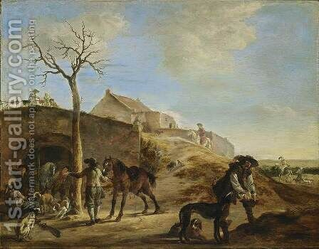 Landscape with Huntsmen 1651 by Dirck Willemsz. Stoop - Reproduction Oil Painting