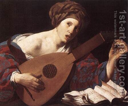 Woman Playing the Lute 1624-26 by Hendrick Terbrugghen - Reproduction Oil Painting