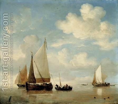 Calm   Dutch Smalschips And A Rowing Boat by Willem van de, the Younger Velde - Reproduction Oil Painting