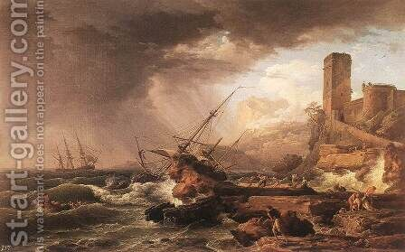 Storm with a Shipwreck 1754 by Claude-joseph Vernet - Reproduction Oil Painting