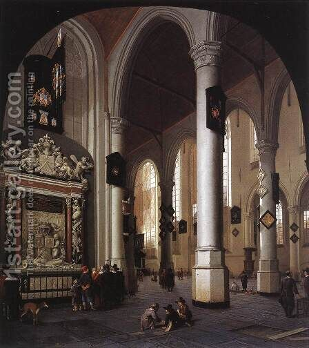 The Old Church at Delft with the Tomb of Admiral Tromp 1658 by Hendrick Van Vliet - Reproduction Oil Painting